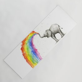 Baby Elephant Spraying Rainbow Yoga Mat