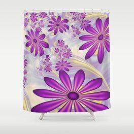 Fractal Art Dancing Purple Flowers Shower Curtain