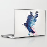 blood Laptop & iPad Skins featuring Bloody Crow by Robert Farkas