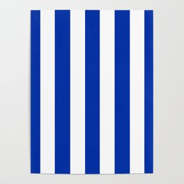International Klein Blue - solid color - white vertical lines pattern Poster