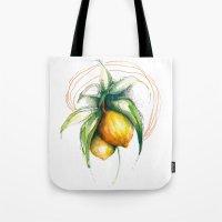lemon Tote Bags featuring Lemon by Alejandra Lara
