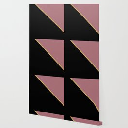 Trendy Glitter Rose Gold and Black Triangle Design Wallpaper