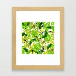 PALM LEAF GREEN DRAGONFLY Framed Art Print