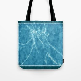 Mottled Red Poinsettia 2 Outlined Blue Tote Bag