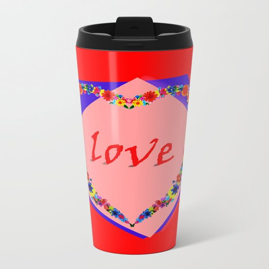 heart of flowers Metal Travel Mug