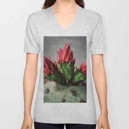 Blooming Opuntia Cactus Flower Unisex V-Neck