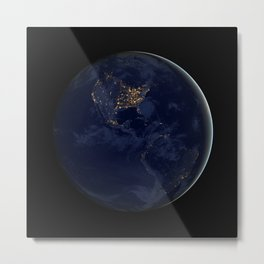 24. Brilliance at Night: The Americas in Darkness Metal Print