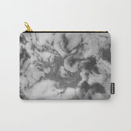 Shin - spilled ink black and white minimal modern watercolor marble printmaking painting monochrome Carry-All Pouch