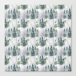 Watercolor forest green snow Christmas pine tree Canvas Print
