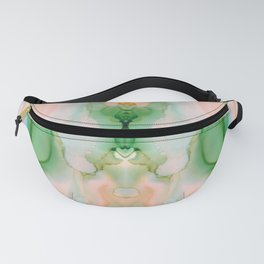 Peach and Green Abstract Praying Mantis Design Fanny Pack