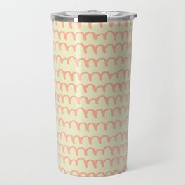 Cream & Peach Scribble Pattern Travel Mug