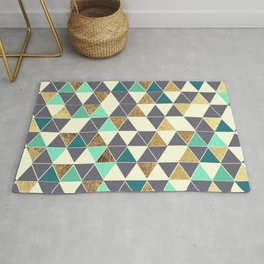 Modern Gray White Teal and Faux Gold Triangles Rug