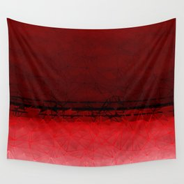 Deep Ruby Red Ombre with Geometrical Patterns Wall Tapestry