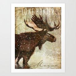 Wild Game Winter Moose Art Print