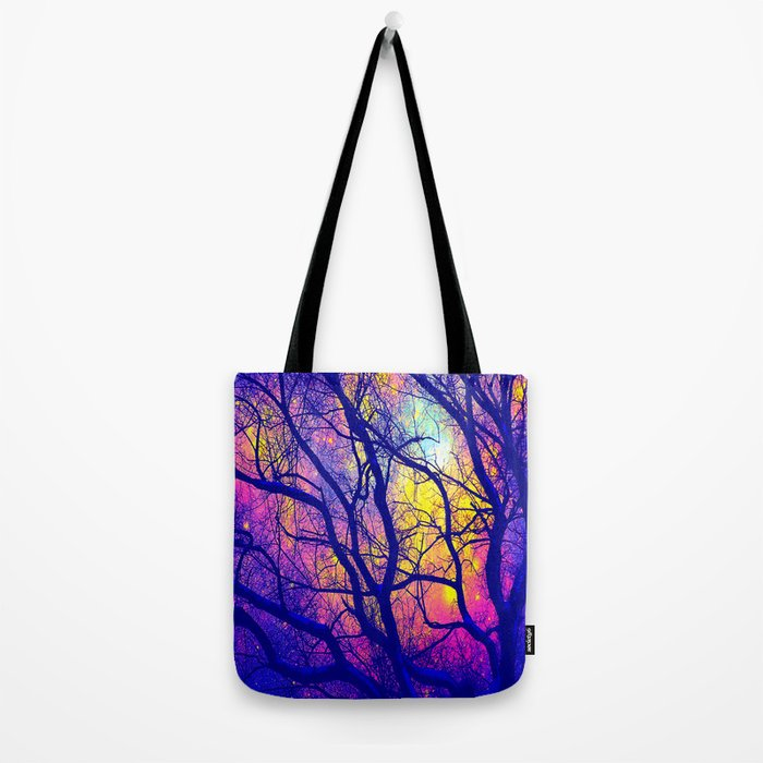 Black Trees Deep Bright & Colorful Space Tote Bag