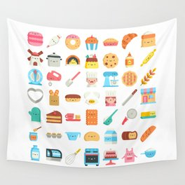 CUTE BAKERY PATTERN (CUTE CHEF BAKER) Wall Tapestry