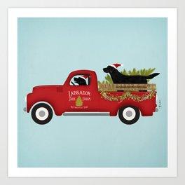 Black lab dog labrador christmas tree farm vintage red truck Art Print