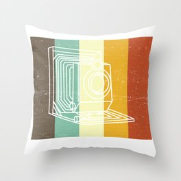 Camera Don't Be Negative Retro Colors Vintage Throw Pillow