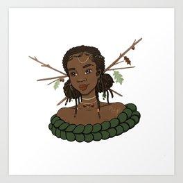 Autumn Oak Goddess • Black Girl Magic in Fall Colors Art Print