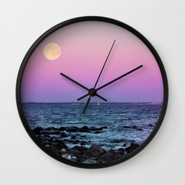#full #moon #Blue #hour #over the #sea Wall Clock