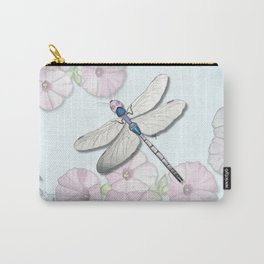 Dragonfly and Morning Glories Carry-All Pouch