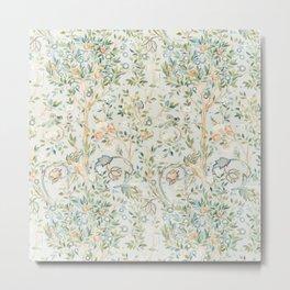 William Morris Vintage Melsetter Grey Silver Blue Pastel Floral  Metal Print