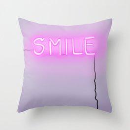 Smile Neon Sign Throw Pillow