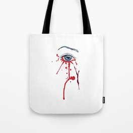 Blue eye with red paint Tote Bag