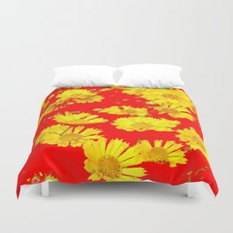 RED-YELLOW COREOPSIS FLOWERS ART Duvet Cover