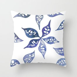 Lace leaves in the tropics watercolor Throw Pillow