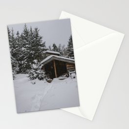 Winter at Lonesome Lake Hut Stationery Cards