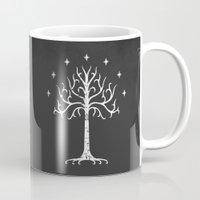 gondor Mugs featuring White Tree of Gondor by Nxolab