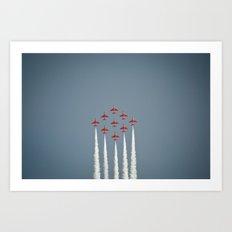 The RAF Red Arrows Flying High Art Print