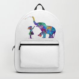 Girl And Elephant Colorful Watercolor Kids Art Backpack