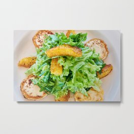 Salad arugula leaves with cheese and orange slices Metal Print