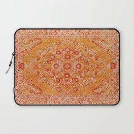 Orange Boho Oriental Vintage Traditional Moroccan Carpet style Design Laptop Sleeve