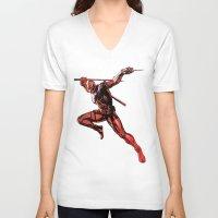 xmen V-neck T-shirts featuring DEADPOOL PAINT SWIRL marvel xmen x-men film movie by Radiopeach