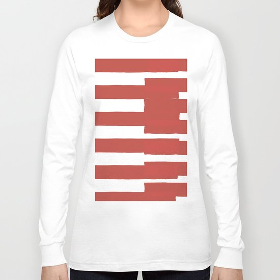 Big Stripes In Red Long Sleeve T-shirt
