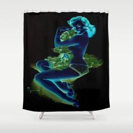 Gil Elvgren Pin Up Girl Dark Shower Curtain