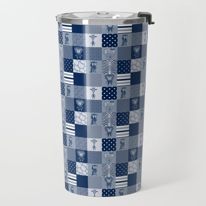 Jungle Friends Shades of Blue Cheater Quilt Travel Mug