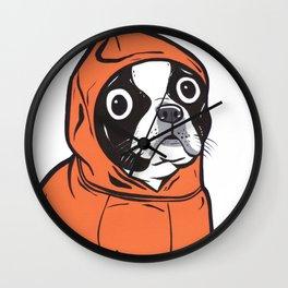 Boston Terrier Orange Hoodie Wall Clock