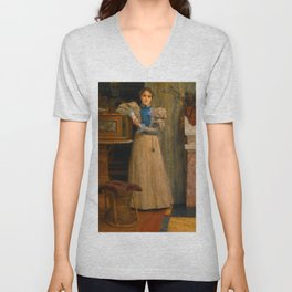 "Sir Lawrence Alma-Tadema ""Portrait of Clothilde Enid"" Unisex V-Neck"