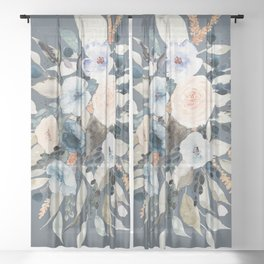 Loose Watercolor Bouquet on Blue Sheer Curtain