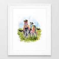 zebra Framed Art Prints featuring Zebra by Anna Shell