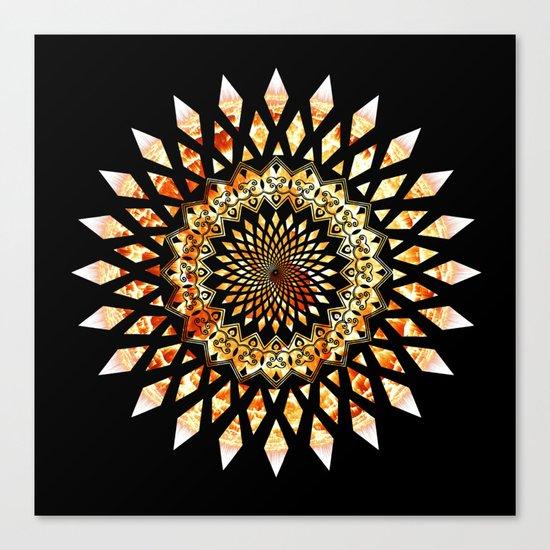 Soul Flame Star Mandala Black & Orange Canvas Print