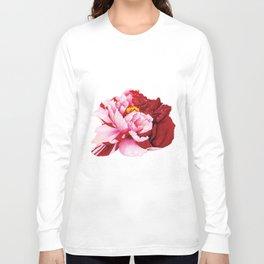 Bi-Color Peony Flower Watercolor Illustration Long Sleeve T-shirt