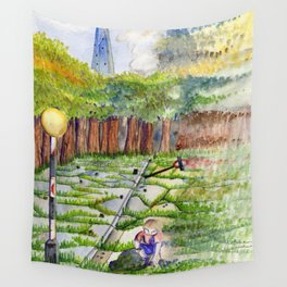 Slipping Away: Even Giants Fall Wall Tapestry