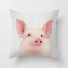 Pig - Colorful Throw Pillow