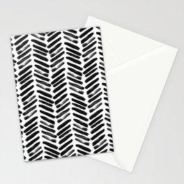 Simple black and white handrawn chevron - horizontal Stationery Cards