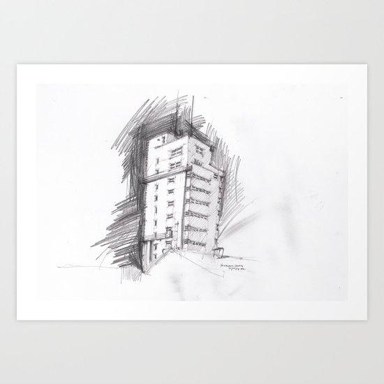 Tagblattturm Stuttgart - pencil Art Print